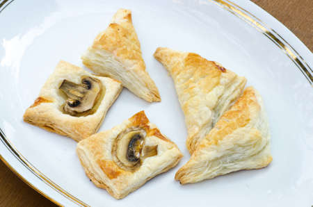 puff: puff pastry on white plate Stock Photo