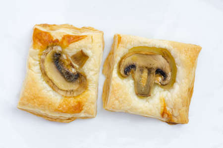 puff pastry: puff pastry on white plate Stock Photo