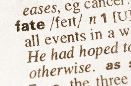 fate: Definition of word fate in dictionary Stock Photo