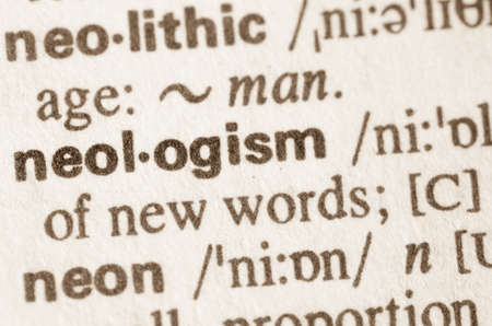 neologism: Definition of word neologism in dictionary Stock Photo