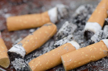 cigarette smoke: cigarette stubs in ashtray closeup