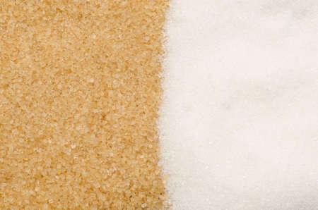 achtergrond van bruine en witte suiker