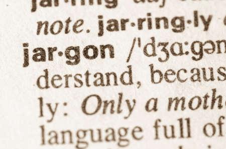 Definitie van woord jargon in woordenboek Stockfoto