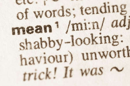 mean: Definition of word mean  in dictionary Stock Photo