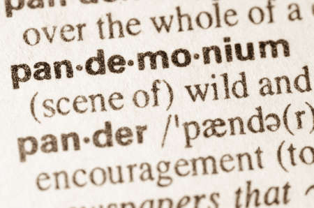 lexical: Definition of word pandemonium  in dictionary Stock Photo