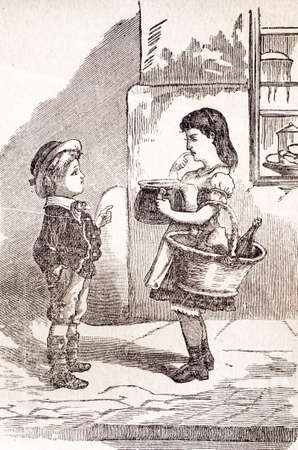two friends talking: brother and sister old engraving