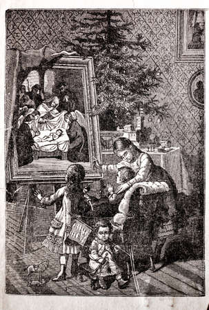 mather: family spending Christmas evening old engraving