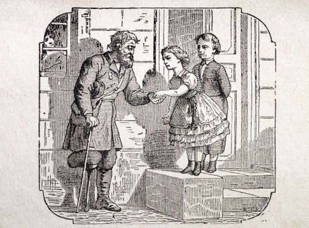 pauper: children and pauper old engraving