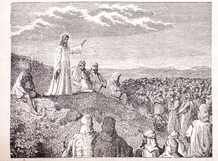 sermon: Sermon on the Mount old engraving Stock Photo