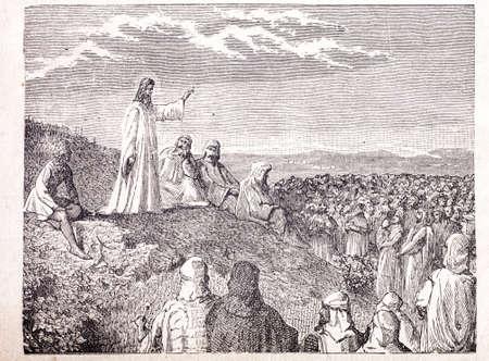 new testament: Sermon on the Mount old engraving Stock Photo