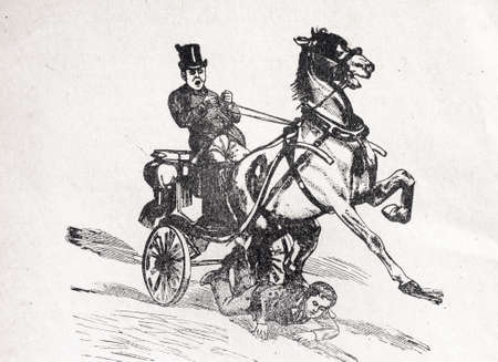 the old road: old road accident on engraved illustration Stock Photo