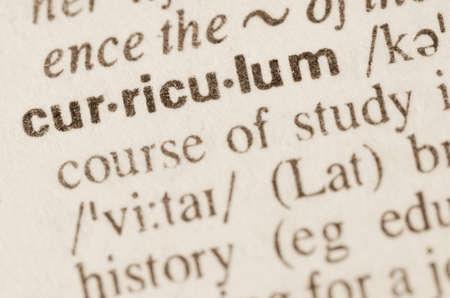 Definitie van woord curriculum in woordenboek Stockfoto