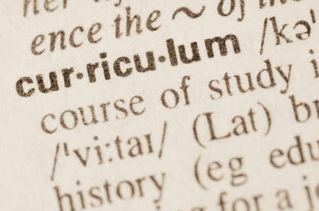 Definition of word curriculum in dictionary Standard-Bild