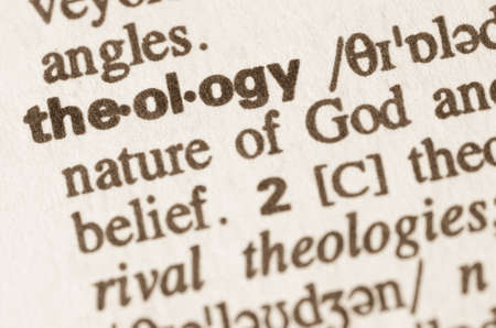 Definitie van het woord theologie in woordenboek Stockfoto