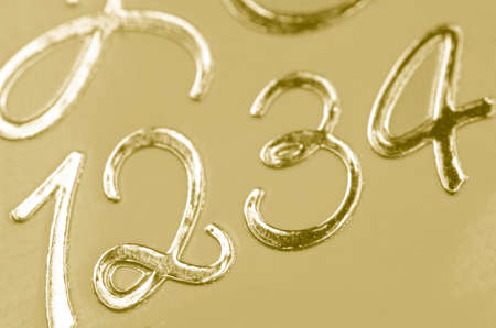 golden background: golden numbers 1 2 3 4 one two three four
