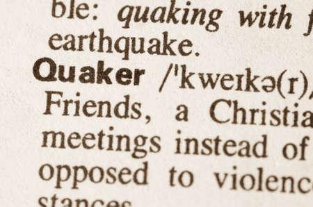 definicion: Definición de la palabra en el diccionario de Quaker Foto de archivo