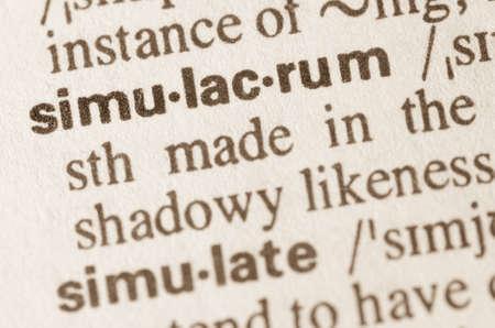 Definición de simulacro palabra en el diccionario Foto de archivo