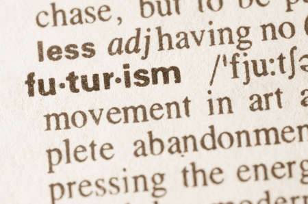futurism: Definition of word futurism  in dictionary Stock Photo