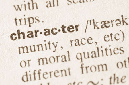 lexical: Definition of word character in dictionary Stock Photo