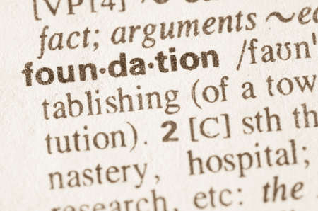 lexical: Definition of word foundation  in dictionary Stock Photo