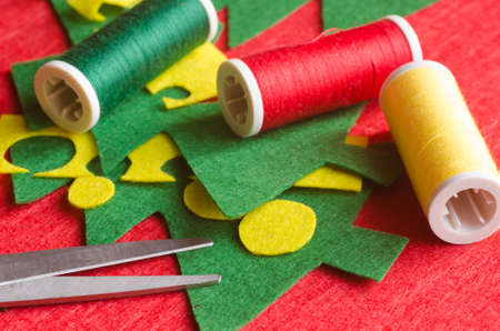 decoration: handmade felt decoration with Christmas tree
