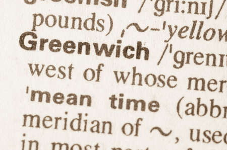 greenwich: Definition of word Greenwich in dictionary Stock Photo