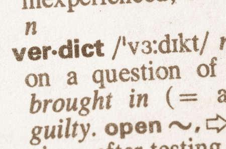verdict: Definition of word verdict in dictionary