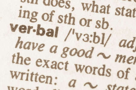 verbal: Definition of word verbal in dictionary Stock Photo