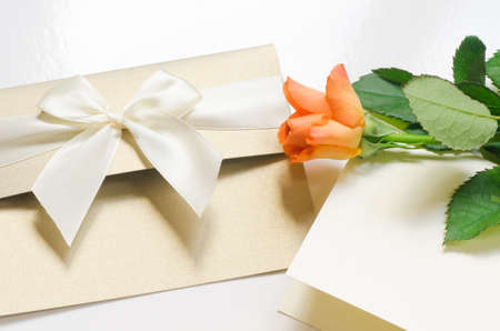 happy birthday text: orange rose rose with blank card Stock Photo