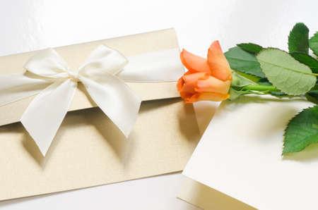 happy valentines: orange rose rose with blank card Stock Photo