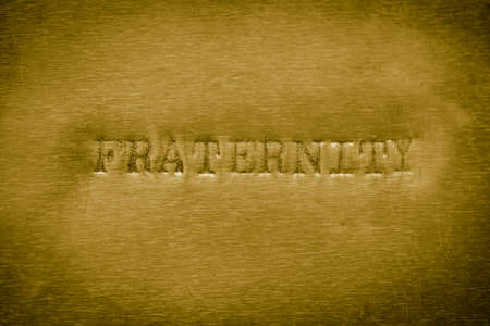 fraternity: word fraternity printed on golden metallic background texture