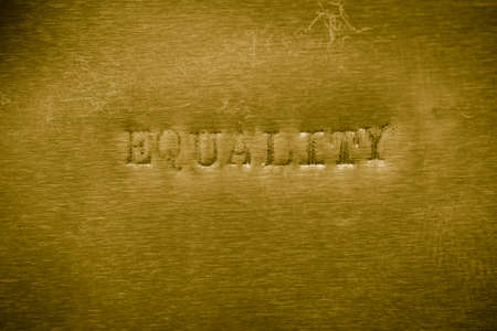 egalitarianism: word equality printed on golden metallic background texture