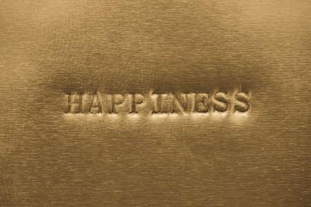 hapiness: word hapiness  printed on golden metallic background