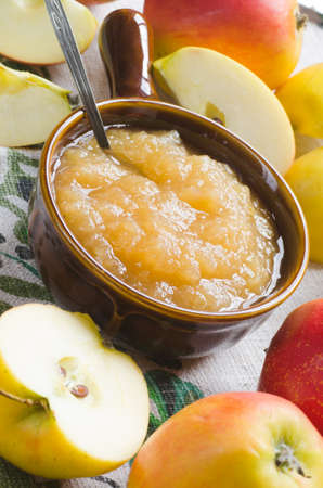 pectin: fresh apples and apple jam on table Stock Photo