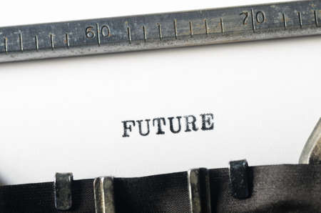 ensuing: word future typed on old typewriter Stock Photo