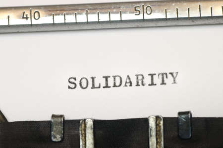 typed: word solidarity typed on old typewriter Stock Photo