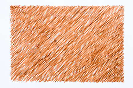 scrawl: brown marker doodles on white paper background