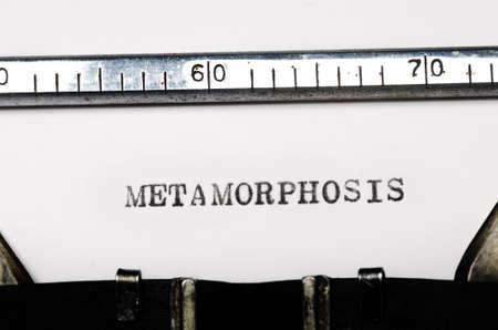 word metamorphosis typed on  old typewriter Stock Photo