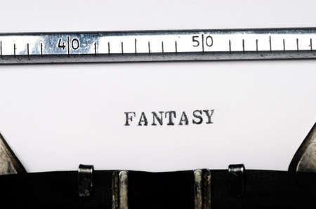 written communication: word fantasy  typed on  old typewriter