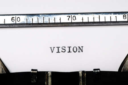 typed: word vision typed on  old typewriter Stock Photo