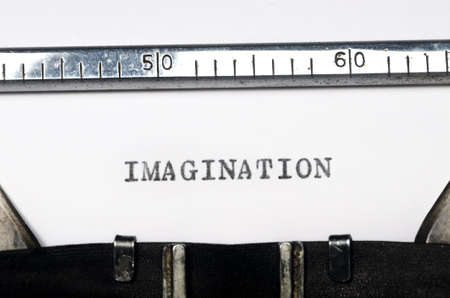 typed: word imagination typed on  old typewriter Stock Photo