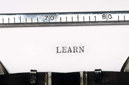 word lern typed on old typewriter