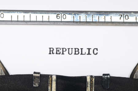 typed: Word republic typed on an old typewriter