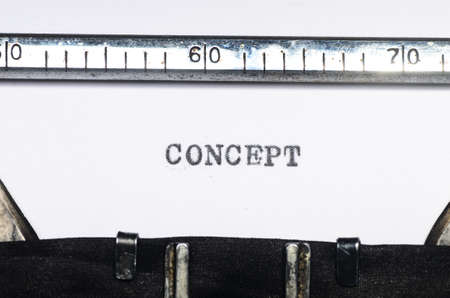 typed: Word concept typed on an old typewriter