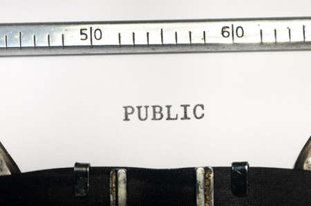 typed: word public typed on an old typewriter
