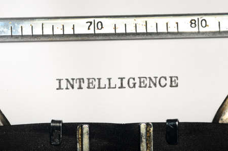 typed: word intelligence typed on an old typewriter