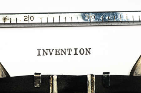 cogitation: word invention typed on an old typewriter Stock Photo