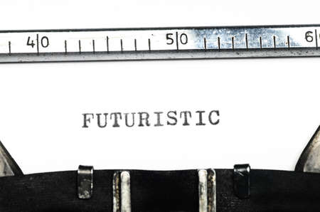 typed: word futuristic typed on an old typewriter Stock Photo