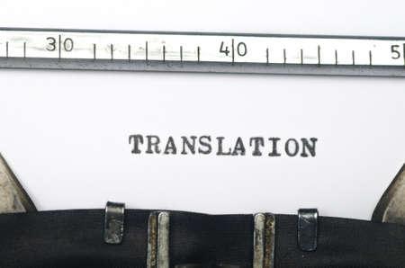 word translation typed on an old typewriter