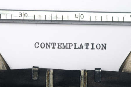 contemplation: word contemplation typed on an old typewriter Stock Photo
